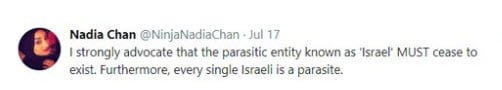 Britain's Channel 4 Chooses Islamic Racist & Antisemite As Female Muslim Role Model Nadia-chan-israel-2