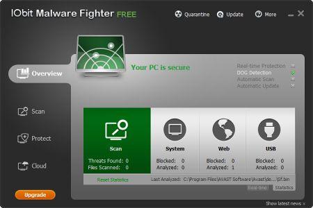 IObit Malware Fighter v.2.2.0 - бесплатная утилита для очистки ПК от вредоносного ПО Iobitmf