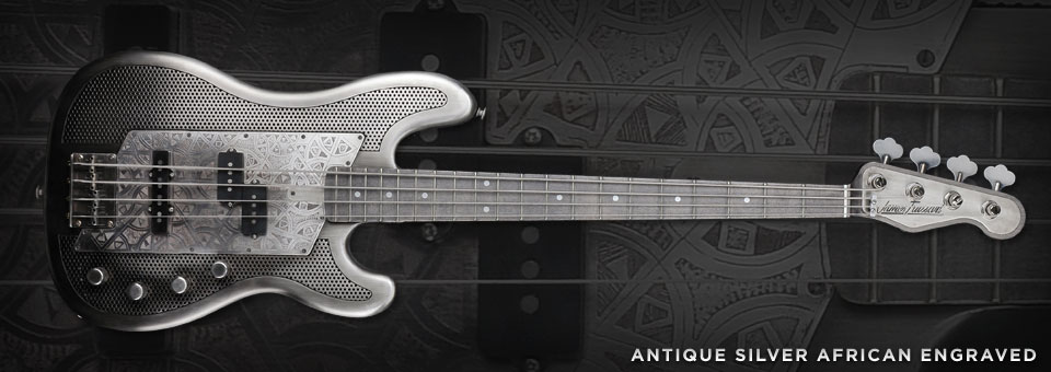 James Trussart Steelcaster Bass. Antique_Silver_African_2633