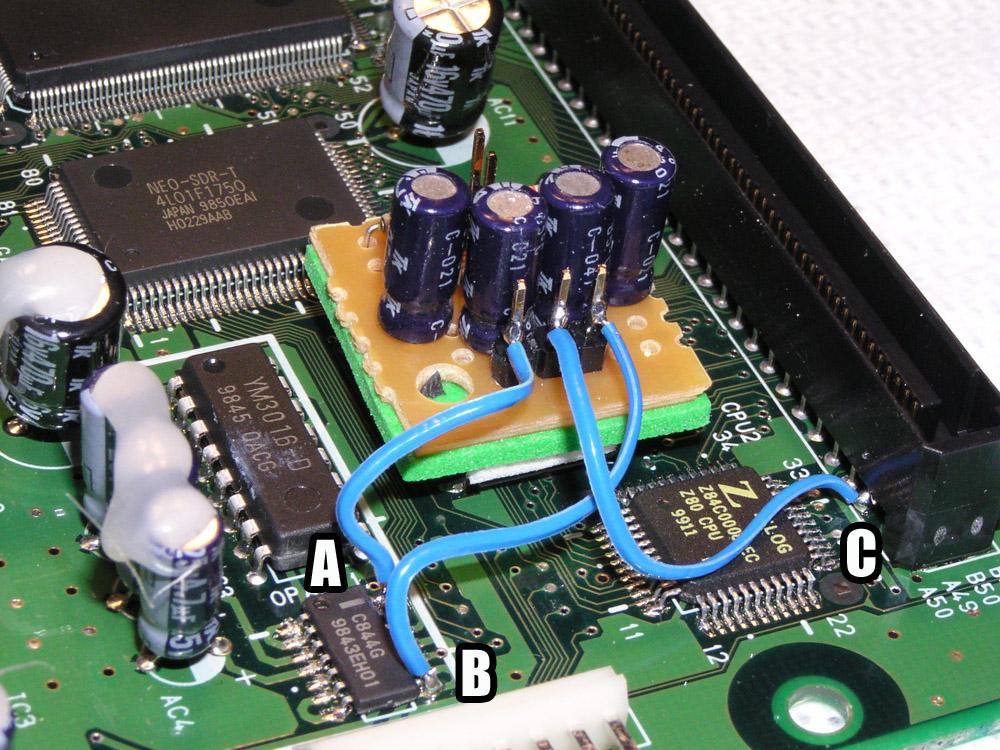 "WIP - PCB ""Neogeo MVS Stereo signals mix with amp (MKL base)"" MV1B-stereo-mod"