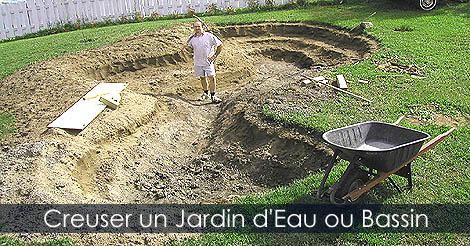 Étapes pour construire un Bassin de Jardin ou étang Creuser-bassin-de-jardin