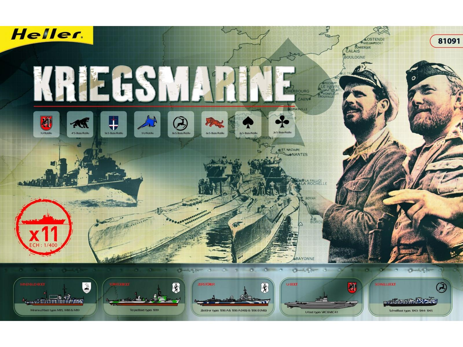 COFFRET KRIEGSMARINE 1/400ème de chez Heller Heller-81091-coffret-kriegsmarine