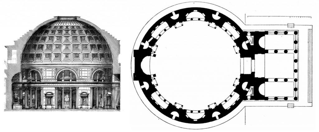 Si van a Roma y solo pueden ver una cosa, visiten el Panteon de Agripa Dos-planos-del-edificio-uno-de-secci%C3%B3n-y-otro-de-planta.-1024x424
