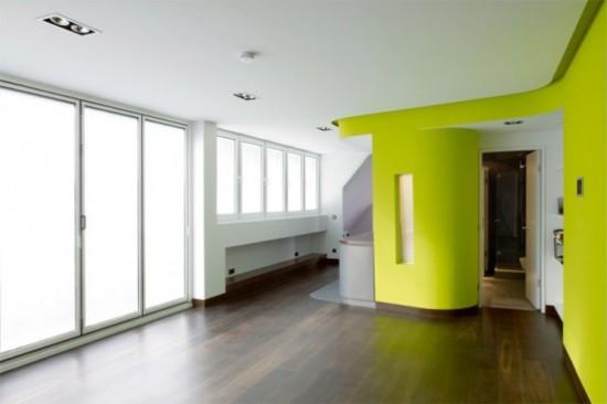 idée couleur pour cuisine Loft-parquet-mur-vert-pomme