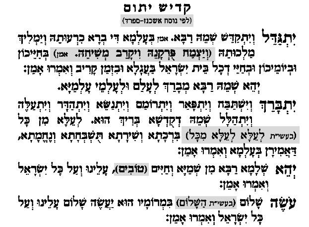 Kadish de duelo. Oración hebrea Kadish