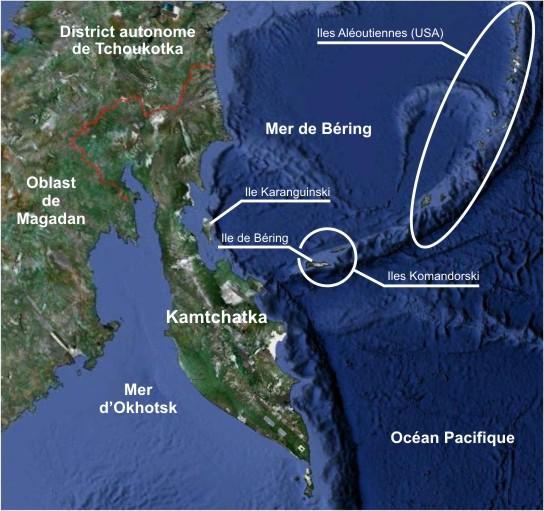 Fortes tensions sur la plaque Pacifique, séismes au Kamtchatka et éruptions volcaniques en alaska Kamtchatka-carteq