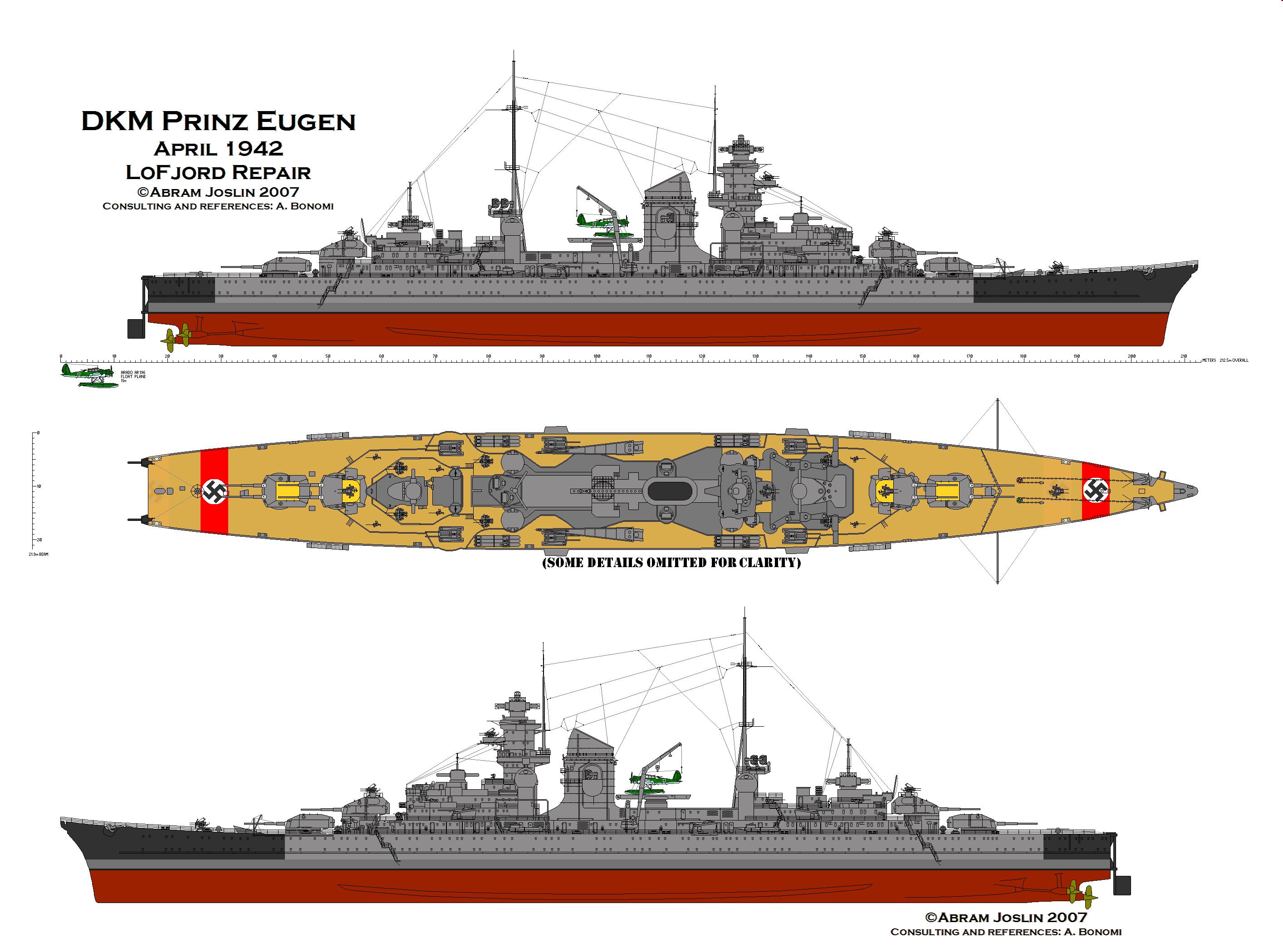 Les projets de bateaux de l'axe(toutes marques et toutes échelles confondues). - Page 2 10Prinz-Eugen-April1942