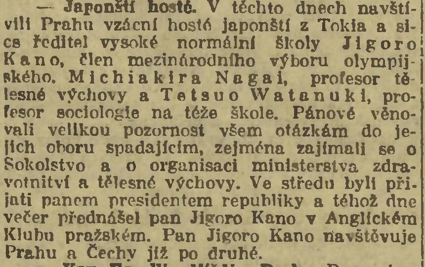 Jigoro Kanos trips to Europe (1933, 1934) 19200920NL_KanoVPraze