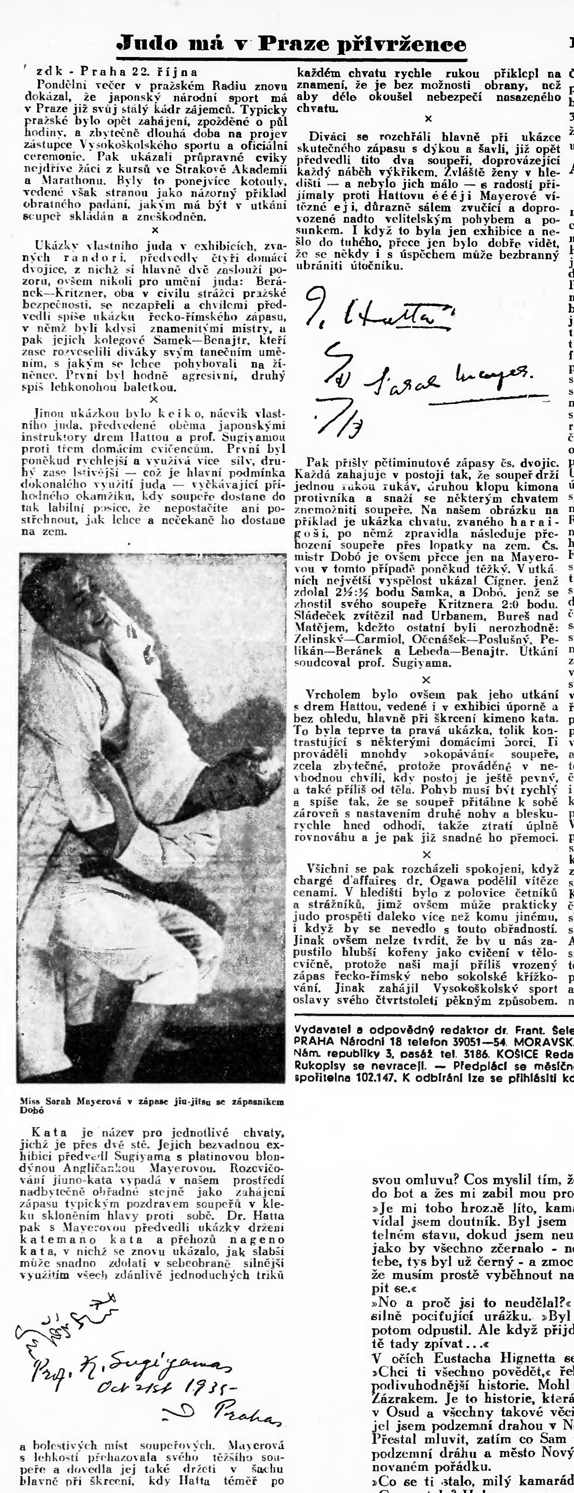 Jigoro Kano and his 3 visits Prague ( November 1912, September 1920, September 1936 ) 19351023NL_OJuduVRadioPalaci
