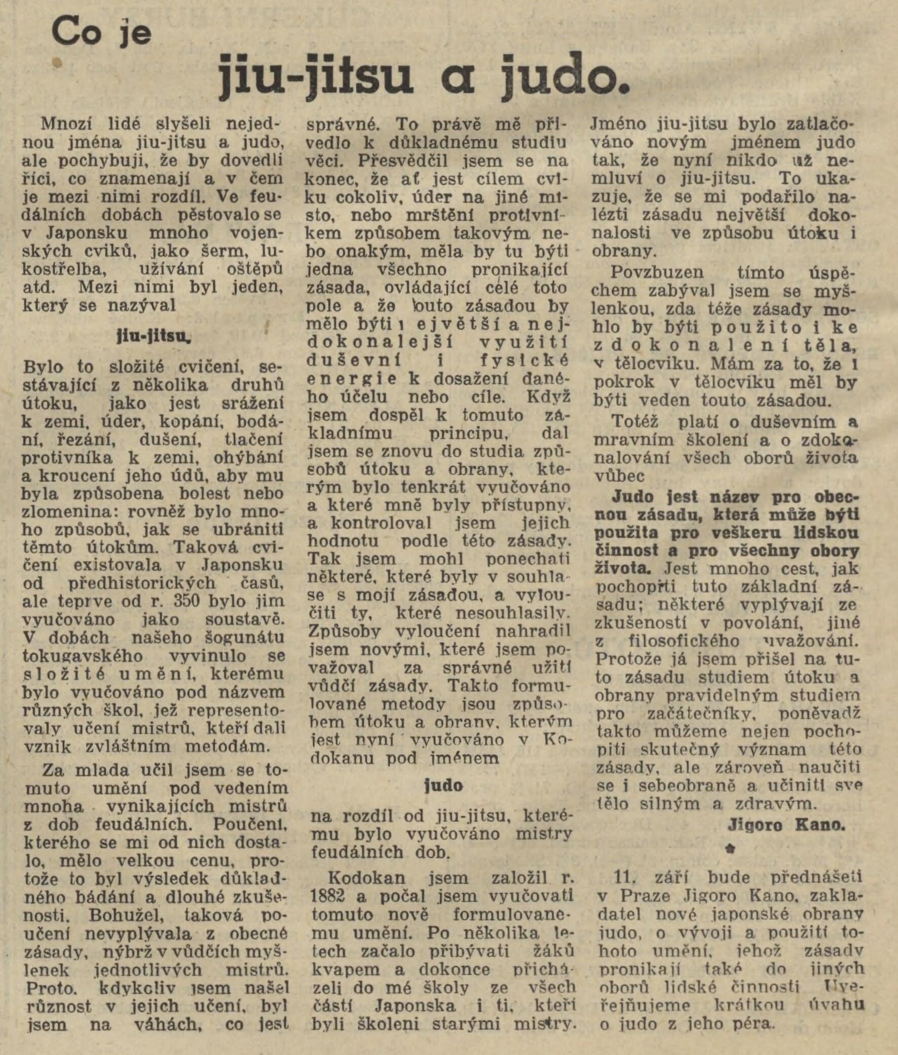 Jigoro Kano and his 3 visits Prague ( November 1912, September 1920, September 1936 ) 19360809NL_ClanekOJudoOdKana