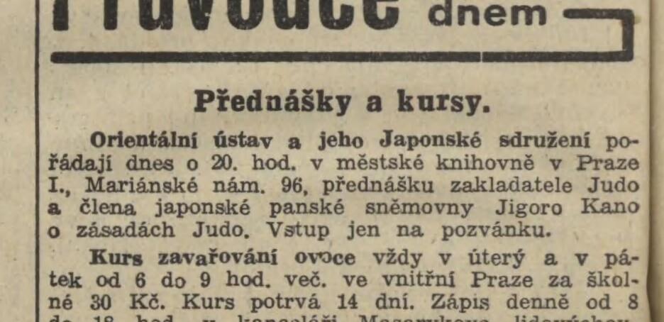 Jigoro Kanos trips to Europe (1933, 1934) 19360911NL_PozvankaNaKanovuPrednasku