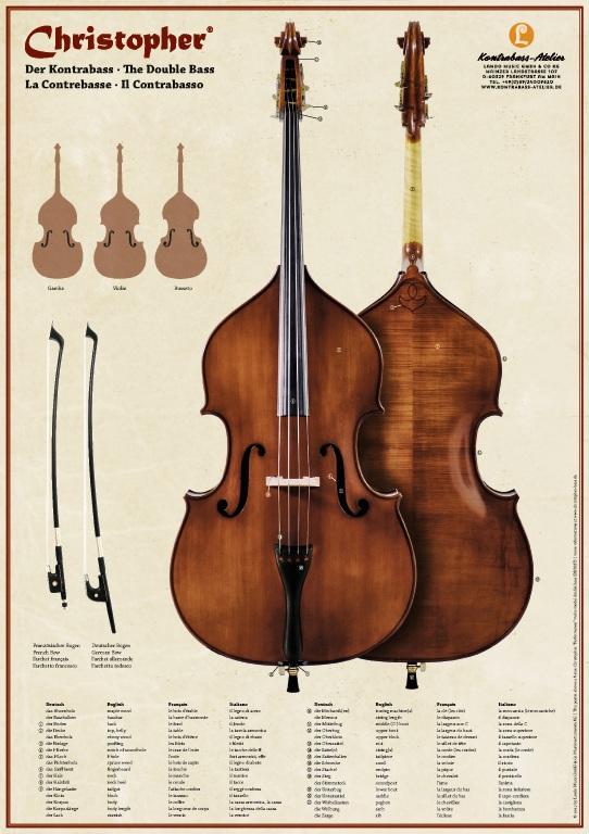 Double Bass Fingerboard & Timeline Chart Kontrabass-plakat2