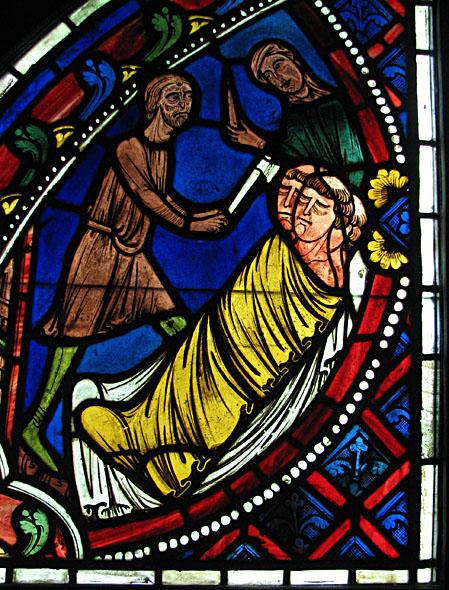 Les vitraux  du XIIIéme siècle . MEDGLASS-3clerics450