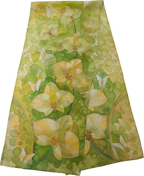 Расписываем шелковый шарф 420_spring_orchids