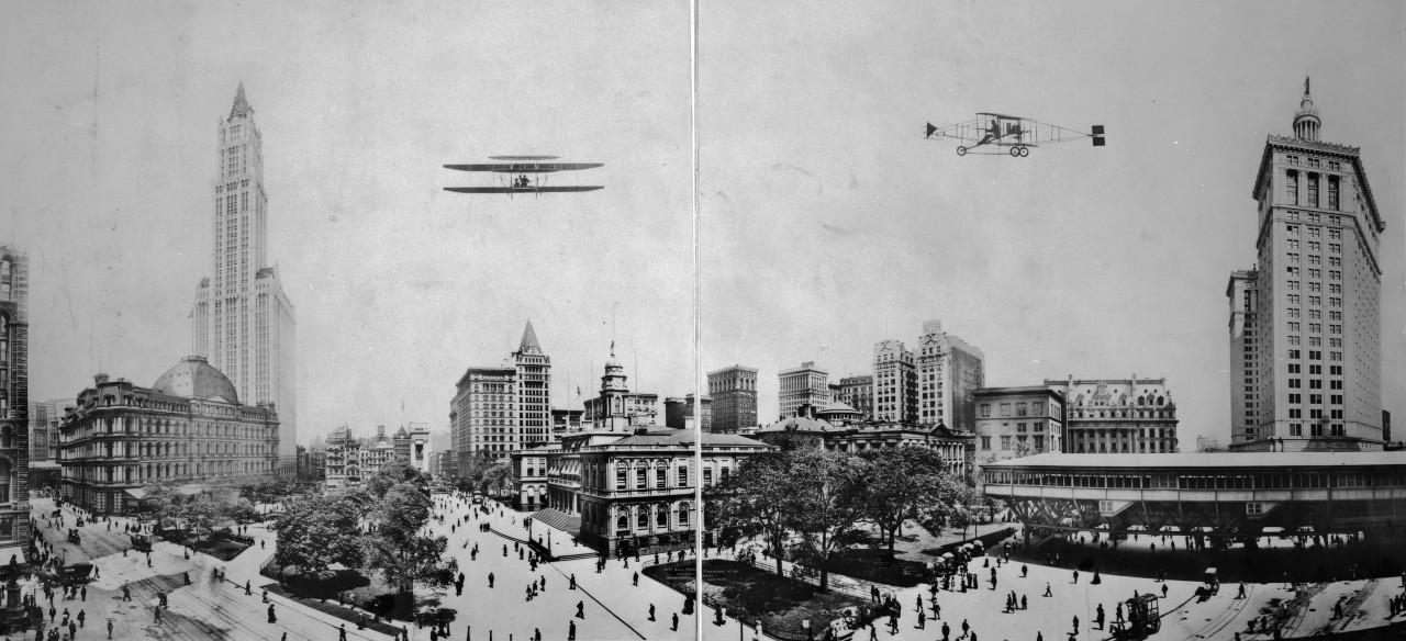 Des photos panoramiques anciennes de véhicules (Reportage photo) By Laboiteverte 15-City-Hall-Park-panorama-NY-1913-1280x584