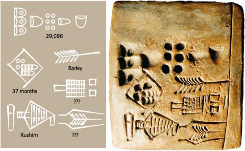 Le premier humain dont on connait le nom Kushim-tablette-legende