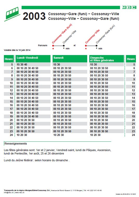 2014-06-21 : Funiculaire de Cossonay Gare - Ville (VD, Suisse) Horaires