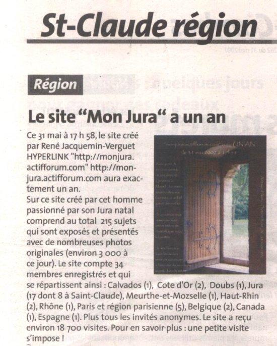 La Voix du Jura - 31 mai 2007 - 1er anniversaire 2007-05-31_voix_jura