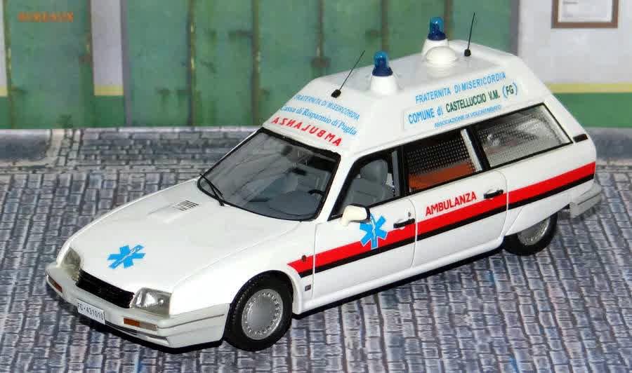 """Citroën miniatures > """"Ambulances, transports de blessés et assistance d'urgence aux victimes"""" CXItalie"""