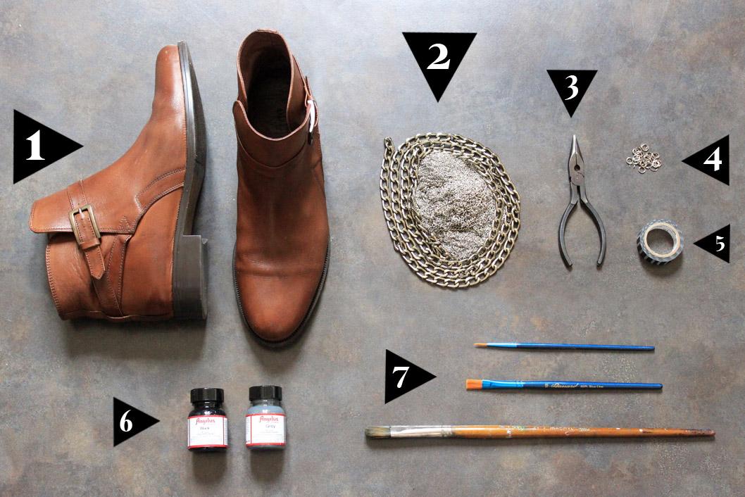 إجعلي من حذائك القديم حذاءا عصريا راقيا... DIY-chaussures-chaine-et-paillettes