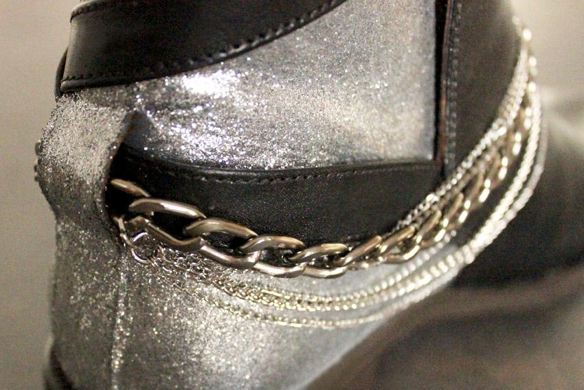 إجعلي من حذائك القديم حذاءا عصريا راقيا... DIY-leather-shoes-chains-and-glitter