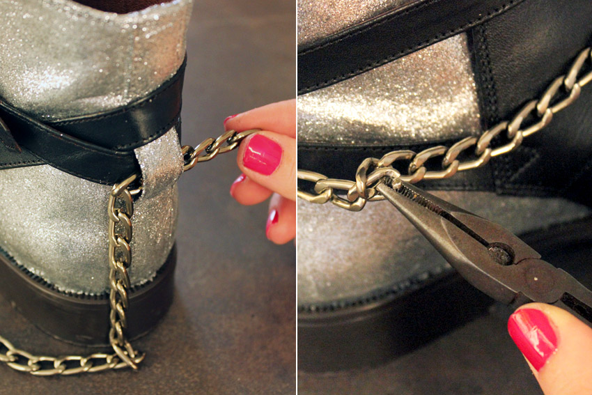 إجعلي من حذائك القديم حذاءا عصريا راقيا... DIY-leather-shoes-chains