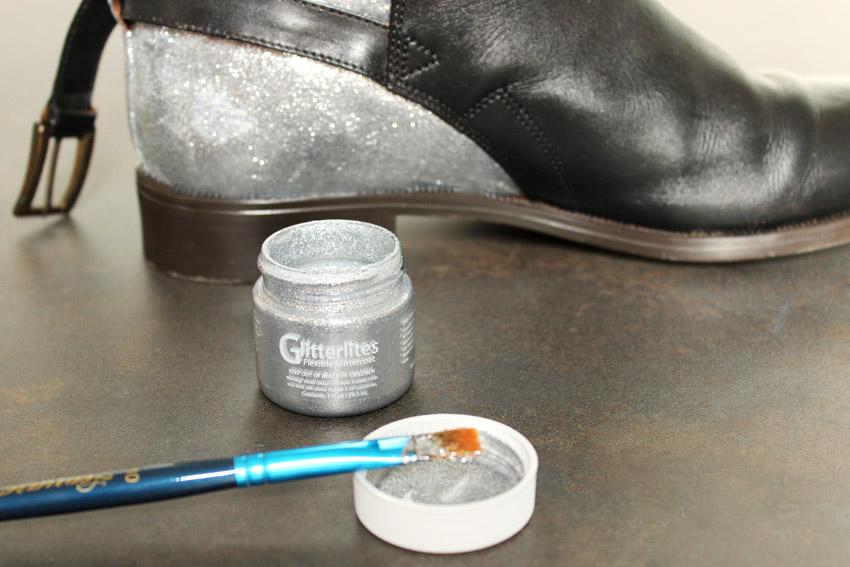 إجعلي من حذائك القديم حذاءا عصريا راقيا... DIY-leather-shoes-glitter-artlex