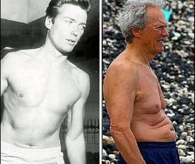 chanteurs et acteurs avant et aujourd hui  - Page 2 Clint-Eastwood-Then-Now