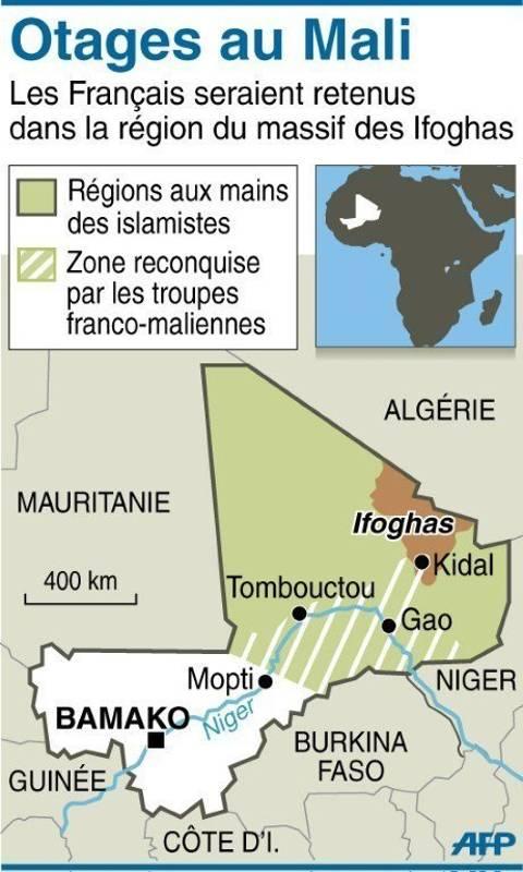 L'intervention militaire française au Mali vise-t-elle à assurer les intérêts d'Areva ? - Page 2 Mali-carte-localisant-la-region-montagneuse-des-ifoghas-ou-s_994459