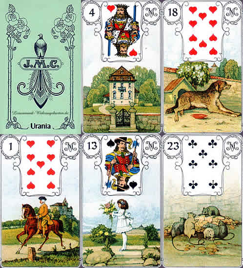 versions - Les différentes versions des  cartes Lenormand Blaue-eule