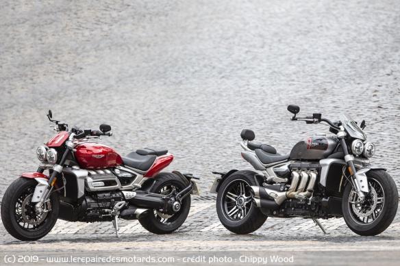 Essai comparatif motos Triumph Rocket 3 R et GT Triumph-rocket-3-r-gt-rouge-noir