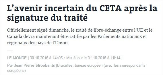 L'avenir incertain du CETA après la signature du traité, par Jean-Pierre Stroobants Ceta-signe