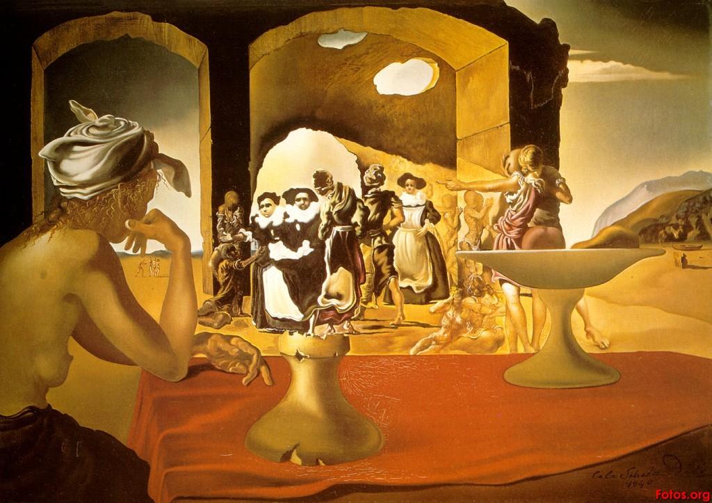 L'inconscient en peinture. 1940-marche-desclaves-avec-le-buste-de-voltaire-disparaissant