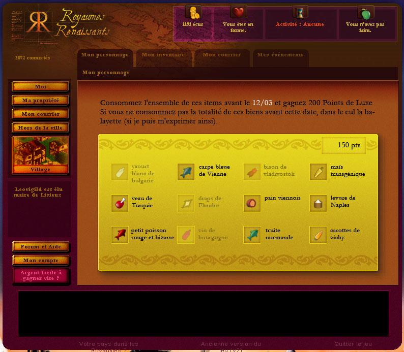 21-04-2011 - Activation des points de luxe, apparition des cartes de consommation ExempleCarteConso