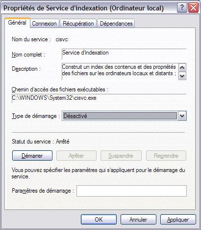 10 astuces pour améliorer la vitesse de Windows XP Servicedindexation