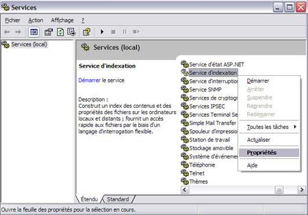 10 astuces pour améliorer la vitesse de Windows XP Servicedindexation2