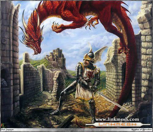 Solamente Impresionantes Dragones Dragon_rojo_y_caballero