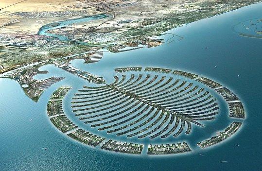 Palmier. Ile artificiel de Dubai (trouvé) Palm-island