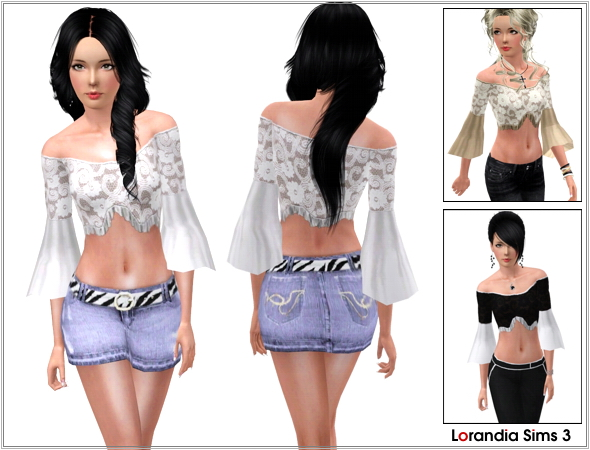 Strapless Top With Flared Sleeves by Lore LorandiaSims3_Clothing_L_317