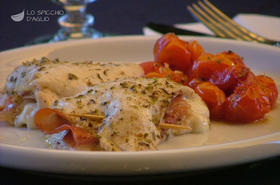 Involtini di pollo al forno con pomodorini Involtinipollopomodorini