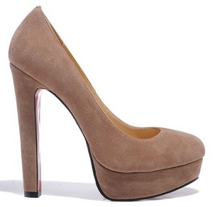 Christian Louboutin Bianca 140 Suede Pumps Light Coffee