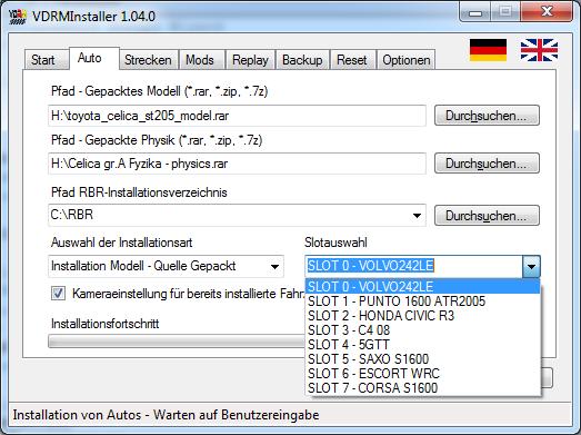 Instalación de coches en el pluging checo con VDRMInstaller ScreenshotTabCar