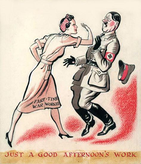 British Women & WW2 Just-A-Good-Afternoons-Work-Hitler-Vs-Worker