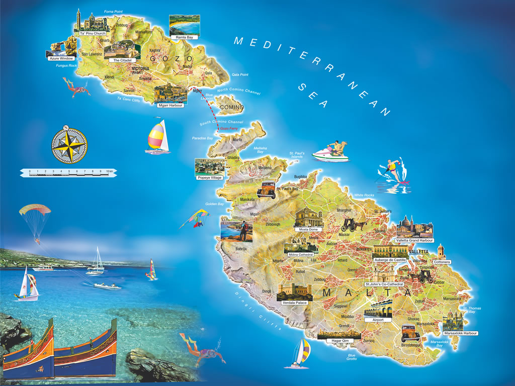 Malta  Malta-Islands-Tourist-Map