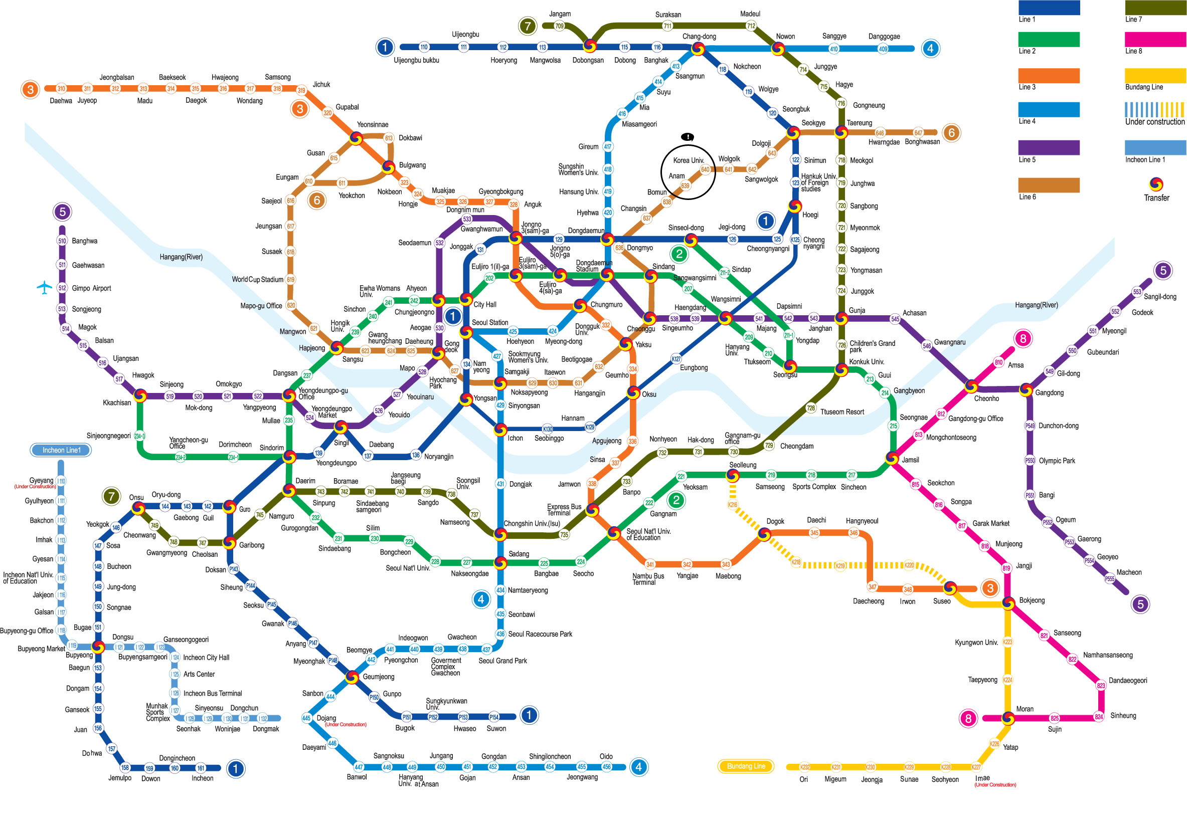 Seoul , Korea trip info for 2019 Seoul-Subway-Map-2