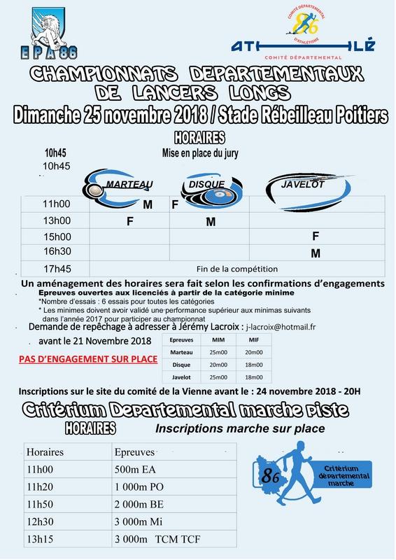 25-11-2018 Poitiers Critérium Départemental 86 marche piste Poitiers-3