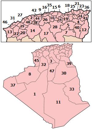 القوة العسكرية المغاربية - الجزائر +المغرب + تونس + موريطانيا + ليبيا - لو تحقق حلف عسكري للإتحاد المغاربي لصنع معادلة صعبة للعالم أجمع كم سيكون حجم قوة الحلف ! Algeria_wilayas