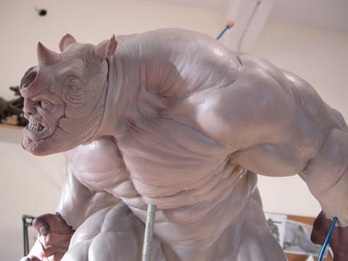 RHINO Comiquette Rhino_sculpture_process_3_by_loqura-d4zyr52