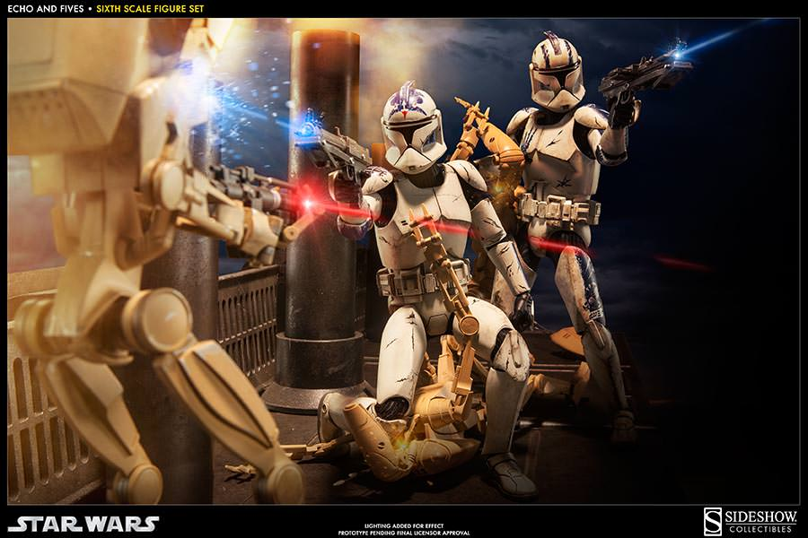 STAR WARS: CLONE TROOPERS ECHO and FIVES SET Sixth scale figure 100201_press02-001