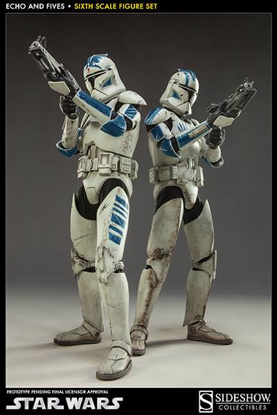 STAR WARS: CLONE TROOPERS ECHO and FIVES SET Sixth scale figure SIDESHOW_COLLECTIBLES_STAR_WARS_1-6_SCALE_CLONE_TOOPER_2-PACK_01